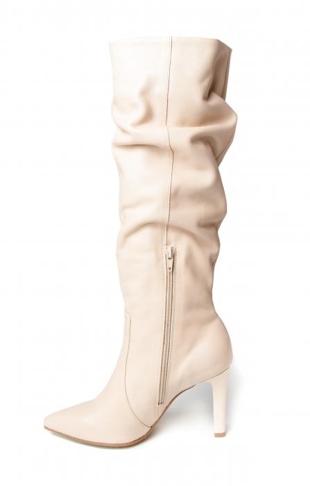 Cizme elegante din piele Box Nude Stylish CZ 07 2