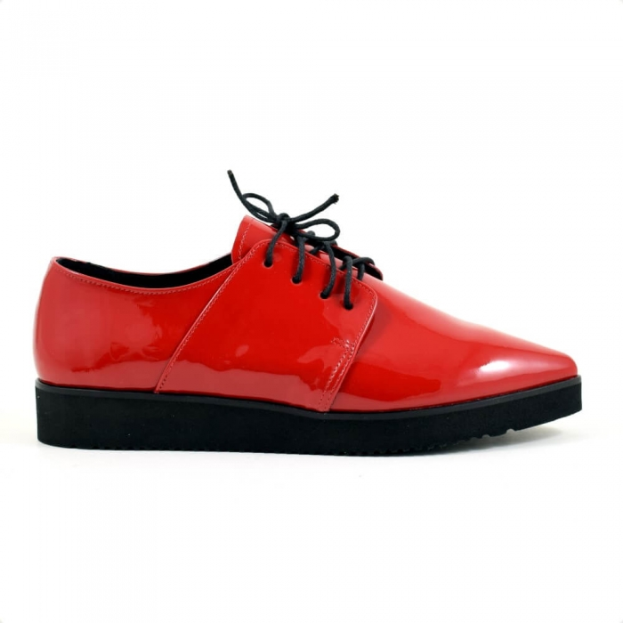 Pantofi cu siret din piele lacuita rosie Amarella 3