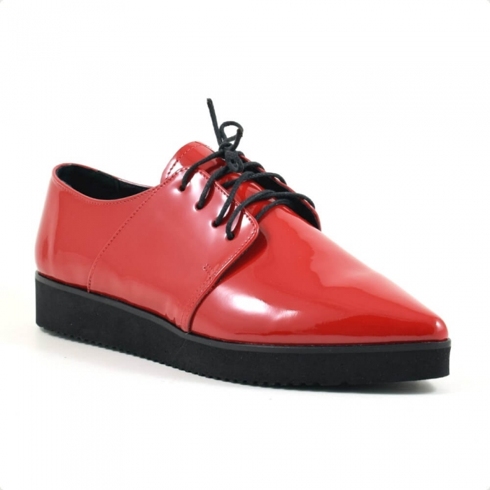Pantofi cu siret din piele lacuita rosie Amarella 2