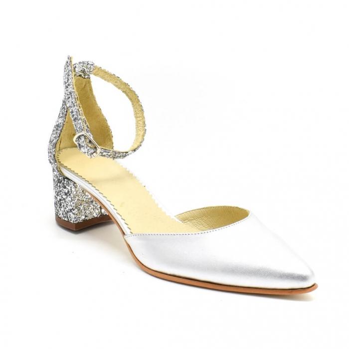 Pantofi din piele argibtie si glitter Argento 2