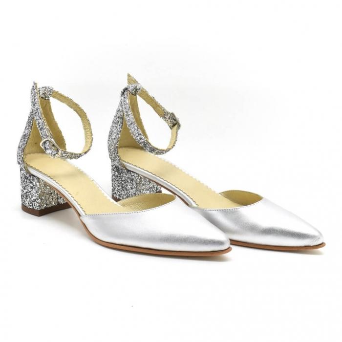 Pantofi din piele argibtie si glitter Argento 0