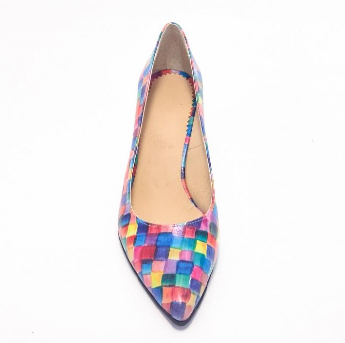 Pantofi din piele naturala multicolora cu toc de 7 cm 2