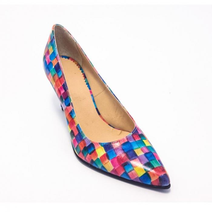Pantofi din piele naturala multicolora cu toc de 7 cm 1