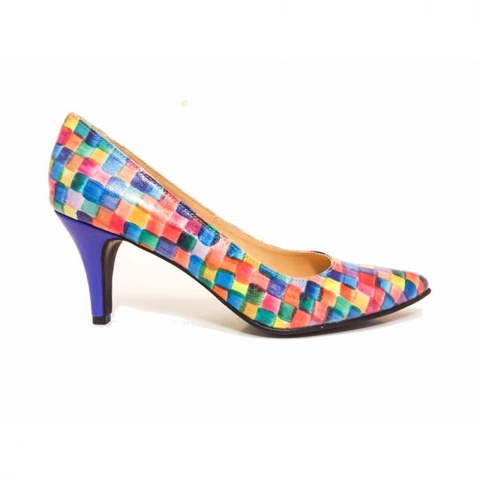 Pantofi din piele naturala multicolora cu toc de 7 cm 0