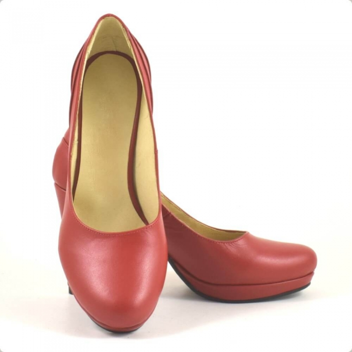 Pantofi din piele naturala rosie Mauro (P 209) 3