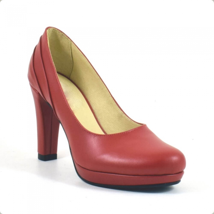 Pantofi din piele naturala rosie Mauro (P 209) 2