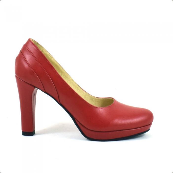 Pantofi din piele naturala rosie Mauro (P 209) 1