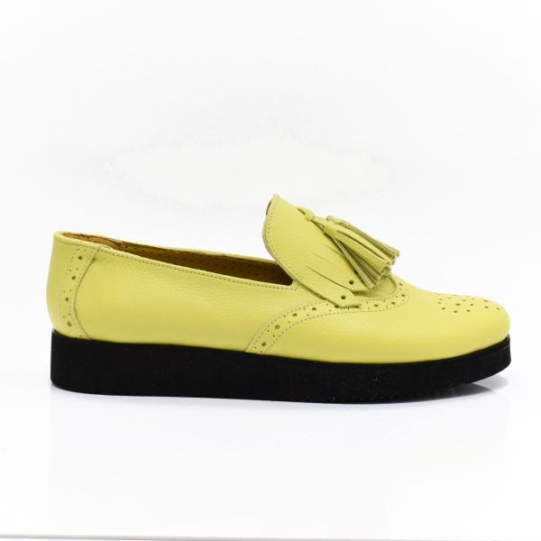 Pantofi galbeni din piele naturala Simonne 3