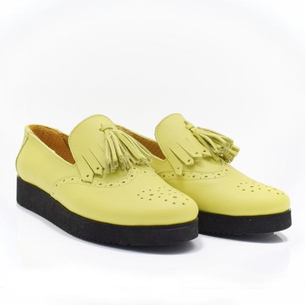 Pantofi galbeni din piele naturala Simonne 0