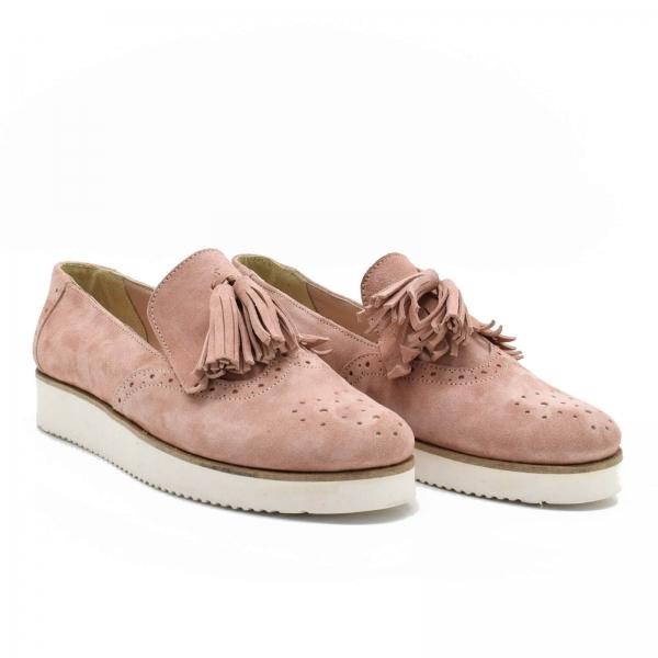 Pantofi din piele naturala Simonne Roze 0