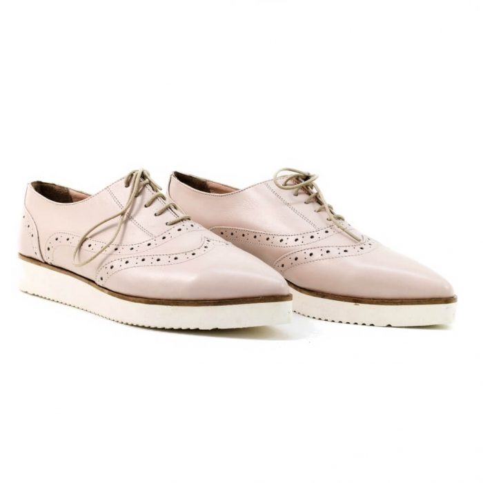 Pantofi din piele nude roze Ariela 0