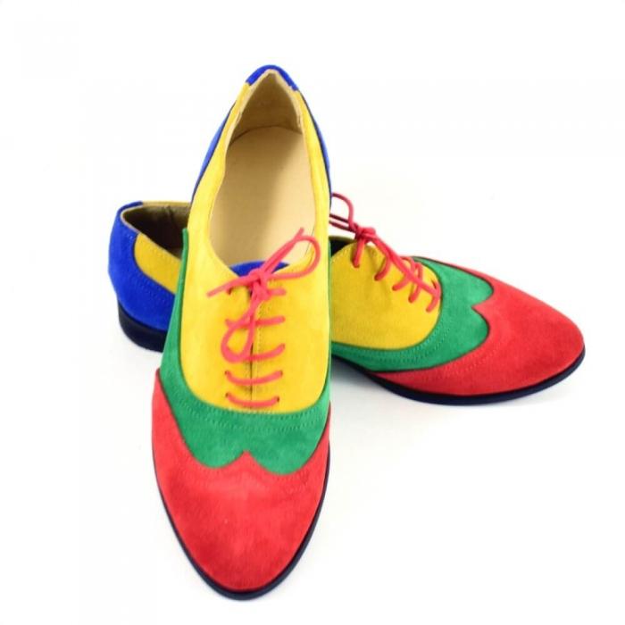 Pantofi oxford din piele intoarsa multicolor Arnna 4