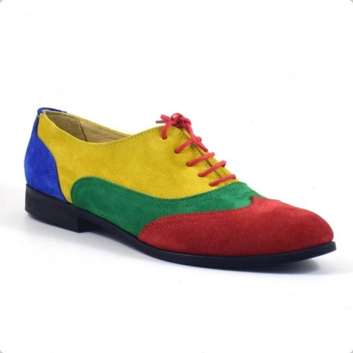 Pantofi oxford din piele intoarsa multicolor Arnna 2