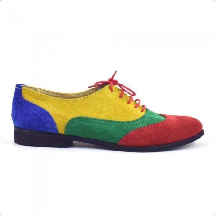 Pantofi oxford din piele intoarsa multicolor Arnna 1