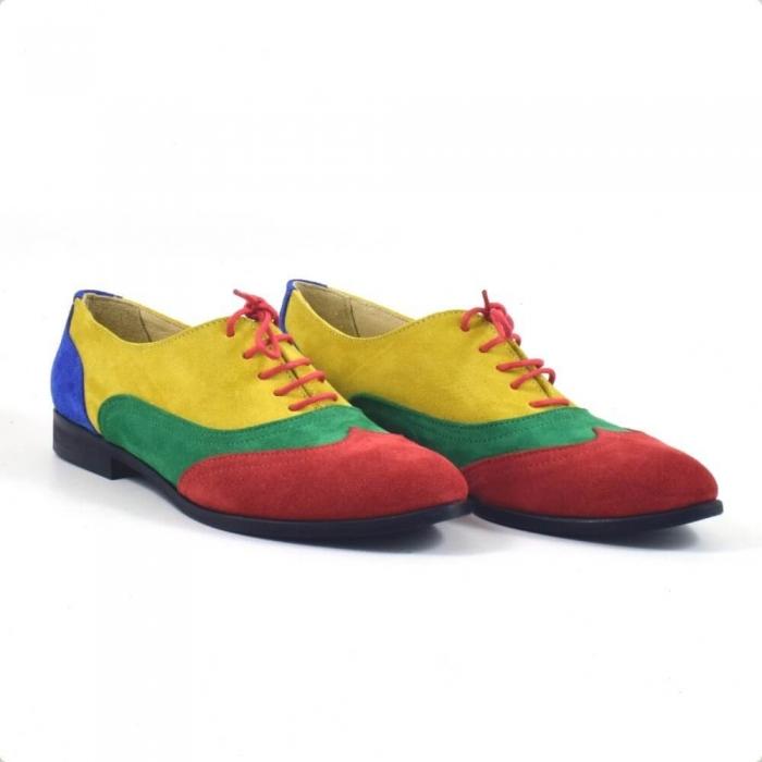 Pantofi oxford din piele intoarsa multicolor Arnna 0