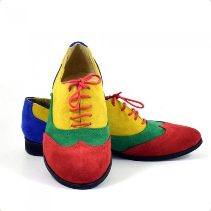 Pantofi oxford din piele intoarsa multicolor Arnna 3
