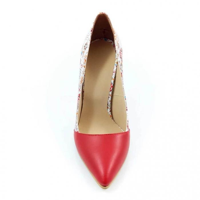 Pantofi stiletto cu imprimeu floral rosu Floretta 3