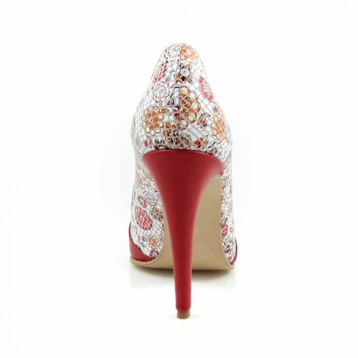 Pantofi stiletto cu imprimeu floral rosu Floretta 4