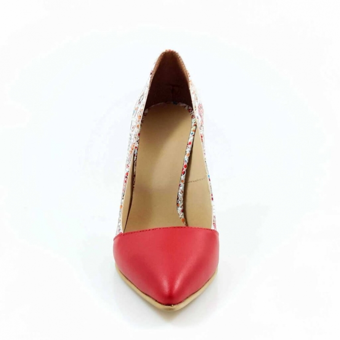 Pantofi stiletto cu imprimeu floral rosu Floretta 2