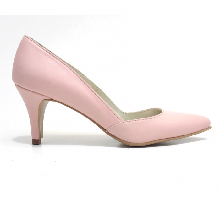 Pantofi stiletto Duo Style din piele naturala roze (M 188) 0