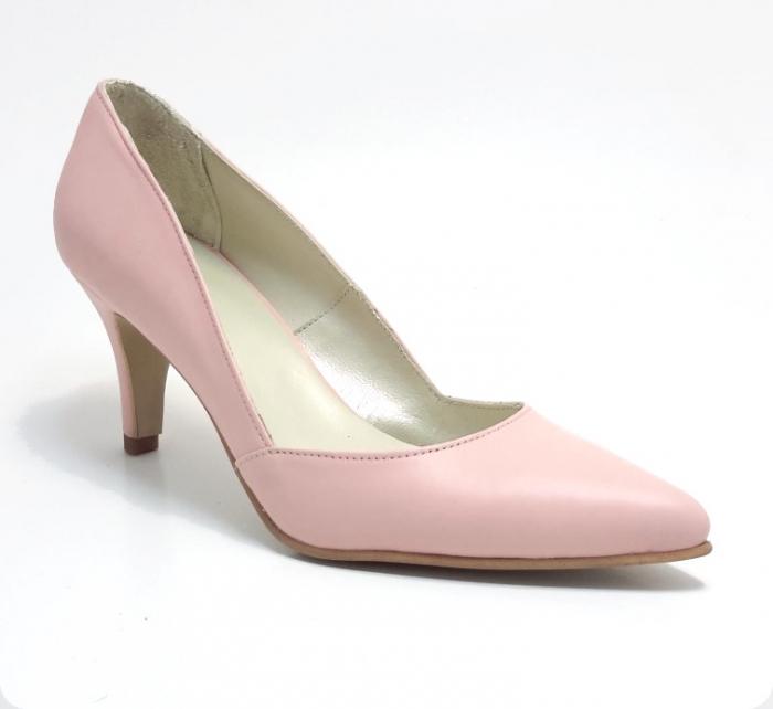 Pantofi stiletto Duo Style din piele naturala roze (M 188) 1