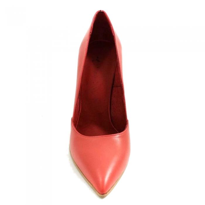 Pantofi stiletto piele naturala rosie Allegro 2