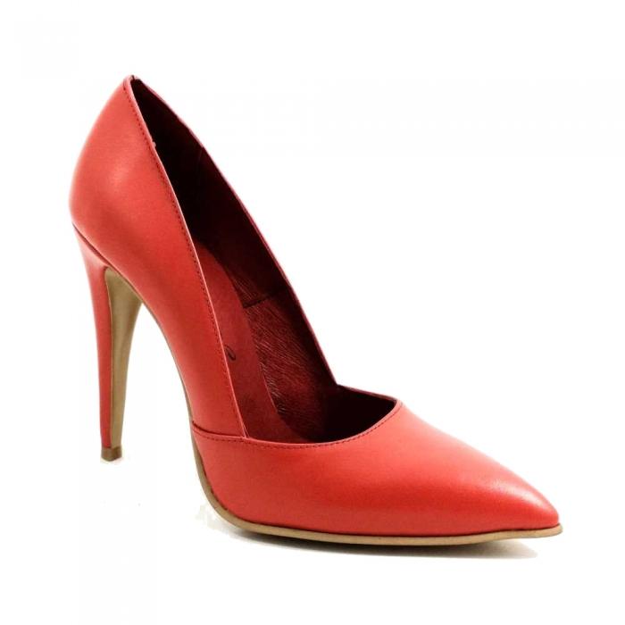 Pantofi stiletto piele naturala rosie Allegro 1