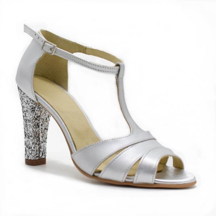 Sandale din piele argintie cu glitter argintiu Ancolette 2