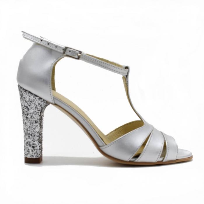 Sandale din piele argintie cu glitter argintiu Ancolette 1