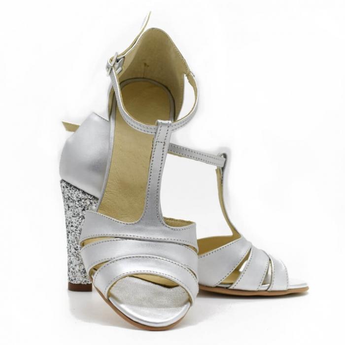 Sandale din piele argintie cu glitter argintiu Ancolette 3