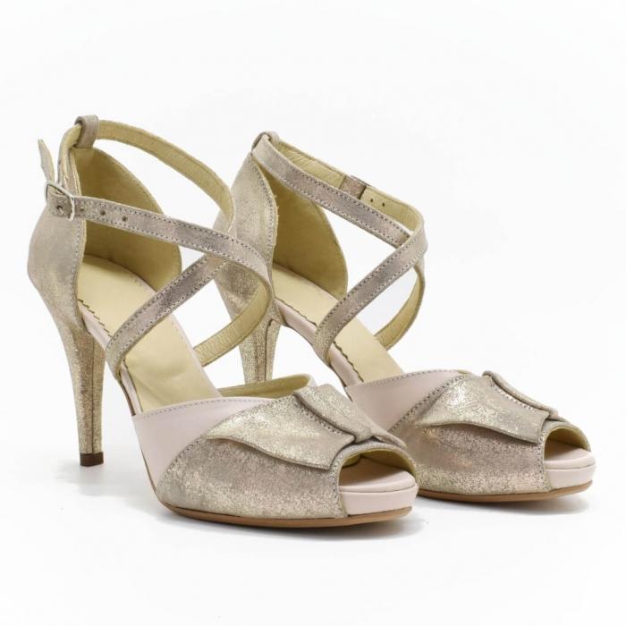 Sandale din piele aurie Melissa 0