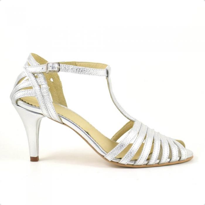 Sandale din piele naturala argintie cu toc de 7cm Avellino 1