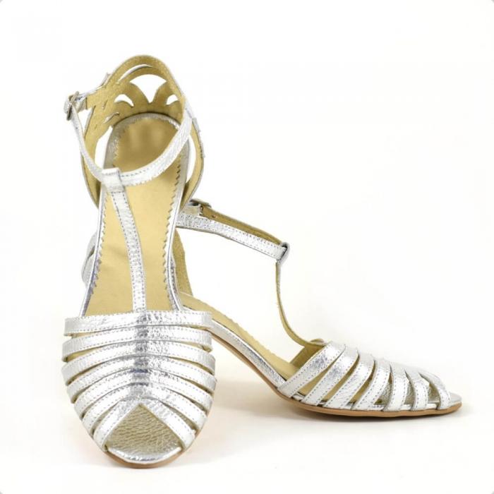 Sandale din piele naturala argintie cu toc de 7cm Avellino 3