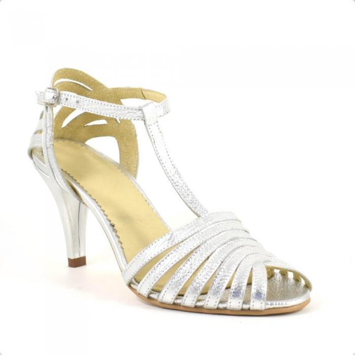 Sandale din piele naturala argintie cu toc de 7cm Avellino 2