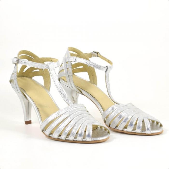 Sandale din piele naturala argintie cu toc de 7cm Avellino 0