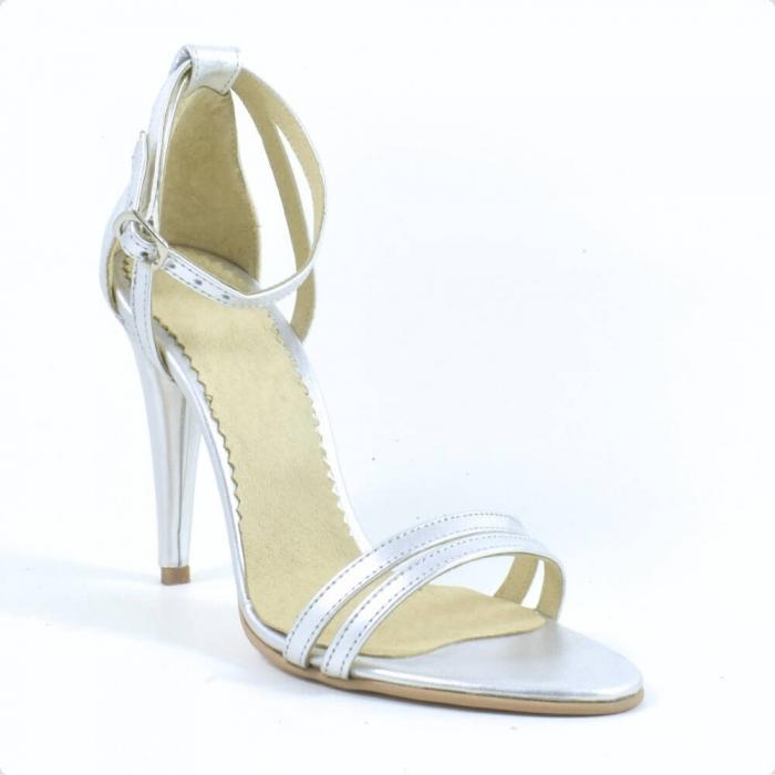 Sandale din piele naturala argintie Milano 2
