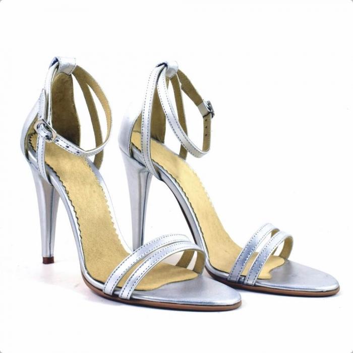 Sandale din piele naturala argintie Milano 0