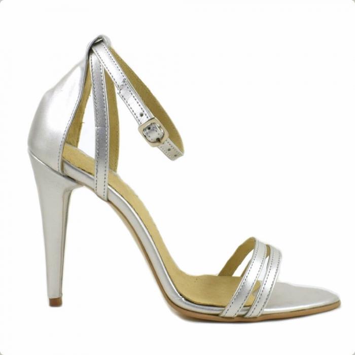 Sandale din piele naturala argintie Milano 1