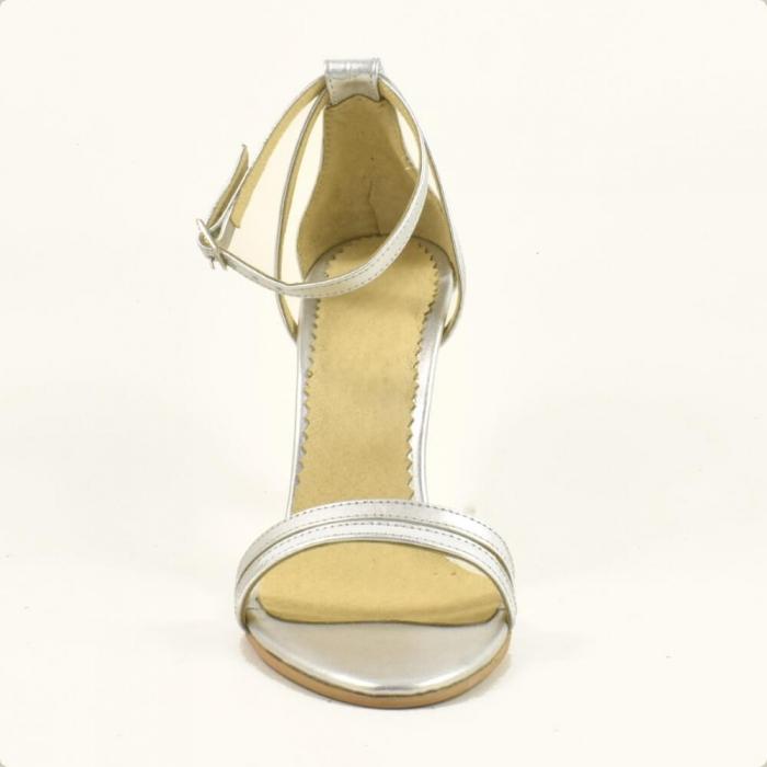 Sandale din piele naturala argintie Milano 3