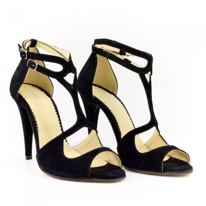 Sandale din piele naturala cu toc de 10 cm Amaretto 0