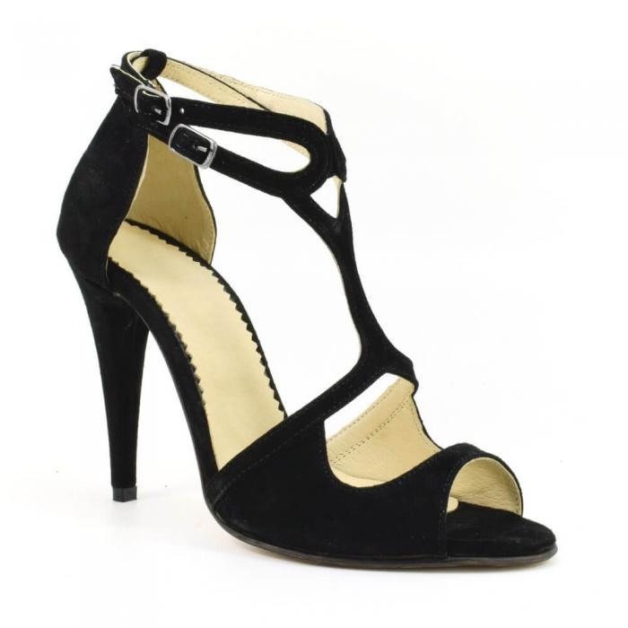 Sandale din piele naturala cu toc de 10 cm Amaretto 2