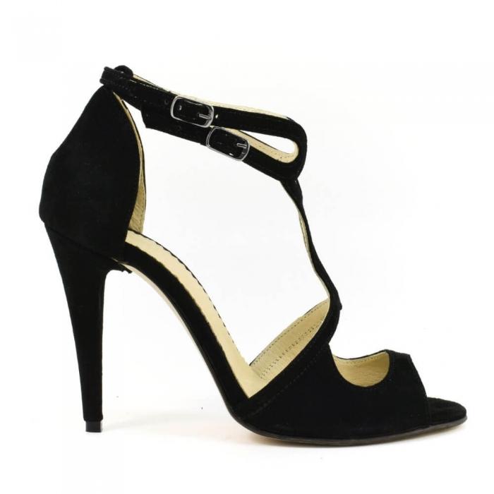 Sandale din piele naturala cu toc de 10 cm Amaretto 1