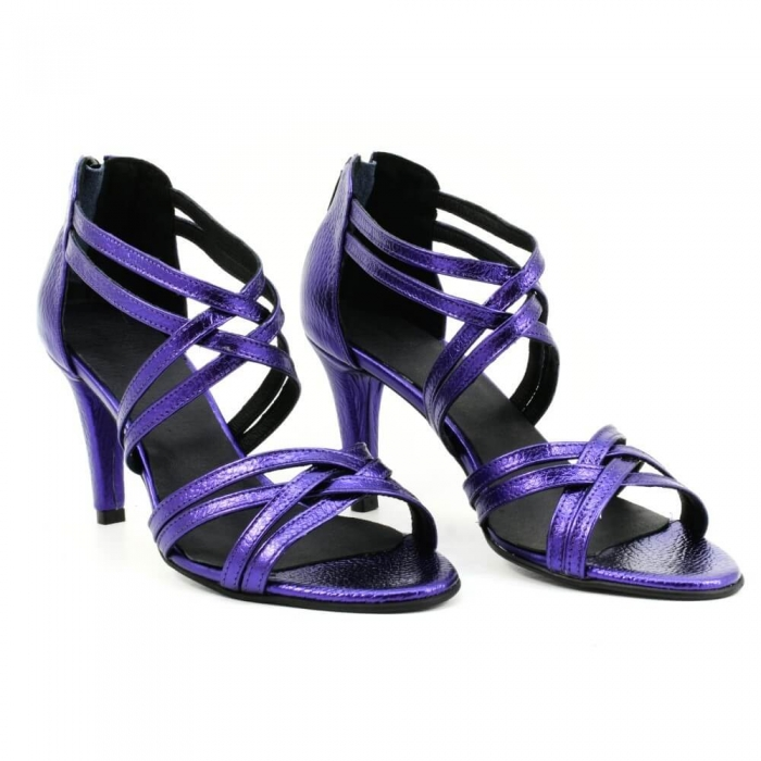 Sandale din piele naturala mov sidefat Ancona 0