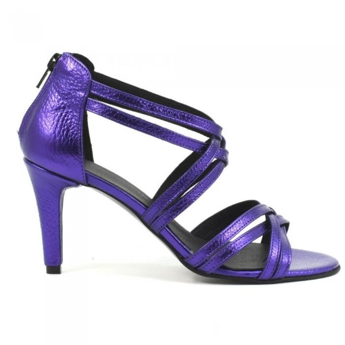 Sandale din piele naturala mov sidefat Ancona 1