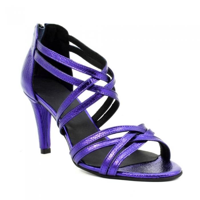 Sandale din piele naturala mov sidefat Ancona 2