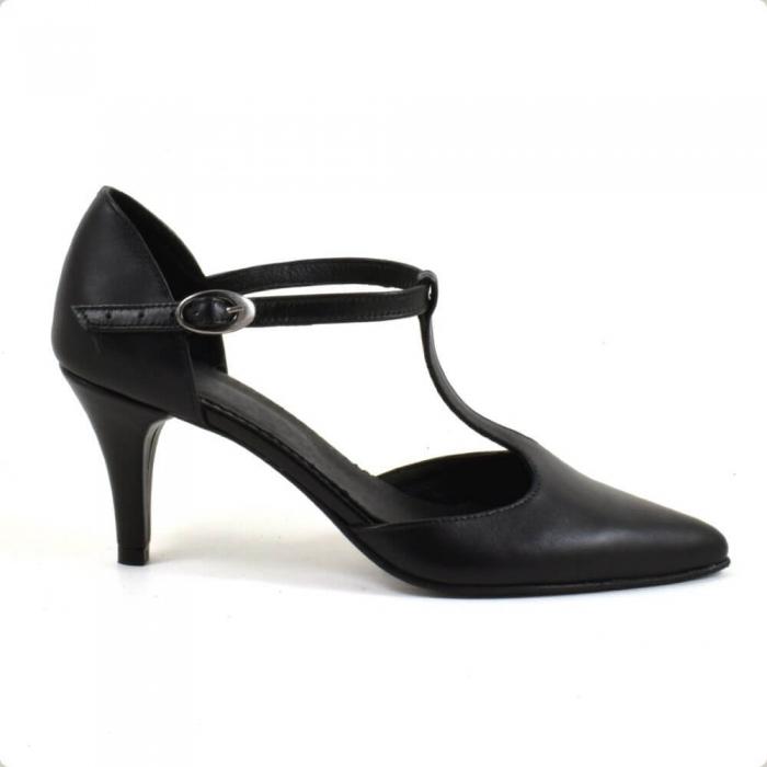Sandale din piele naturala neagra cu toc de 7 cm Azaleea 1