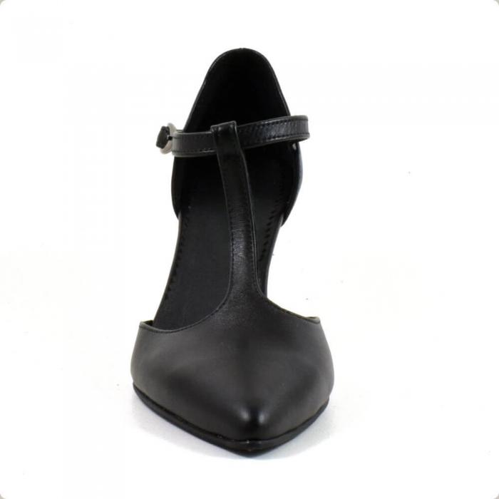Sandale din piele naturala neagra cu toc de 7 cm Azaleea 3