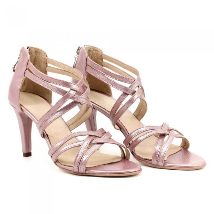 Sandale din piele naturala roze gold Agrigento 0