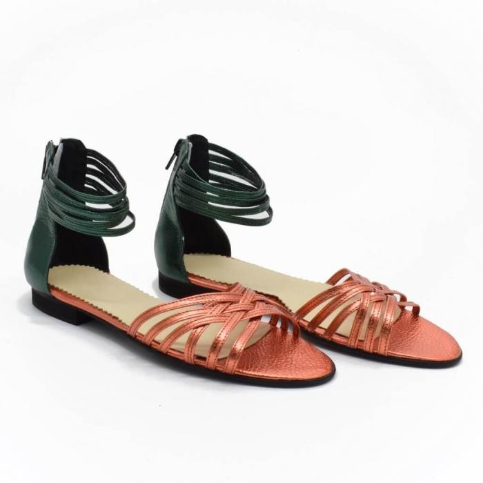 Sandale din piele naturala verde Selenar 0