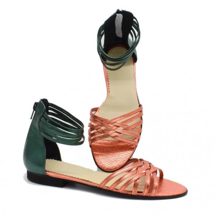 Sandale din piele naturala verde Selenar 2